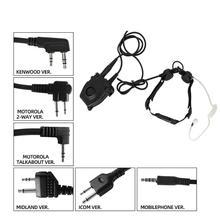 Tactical headset throat microphone vacuum sound CS portable neckline throat headset + interphone adapter tactical PTT PELTOR PTT