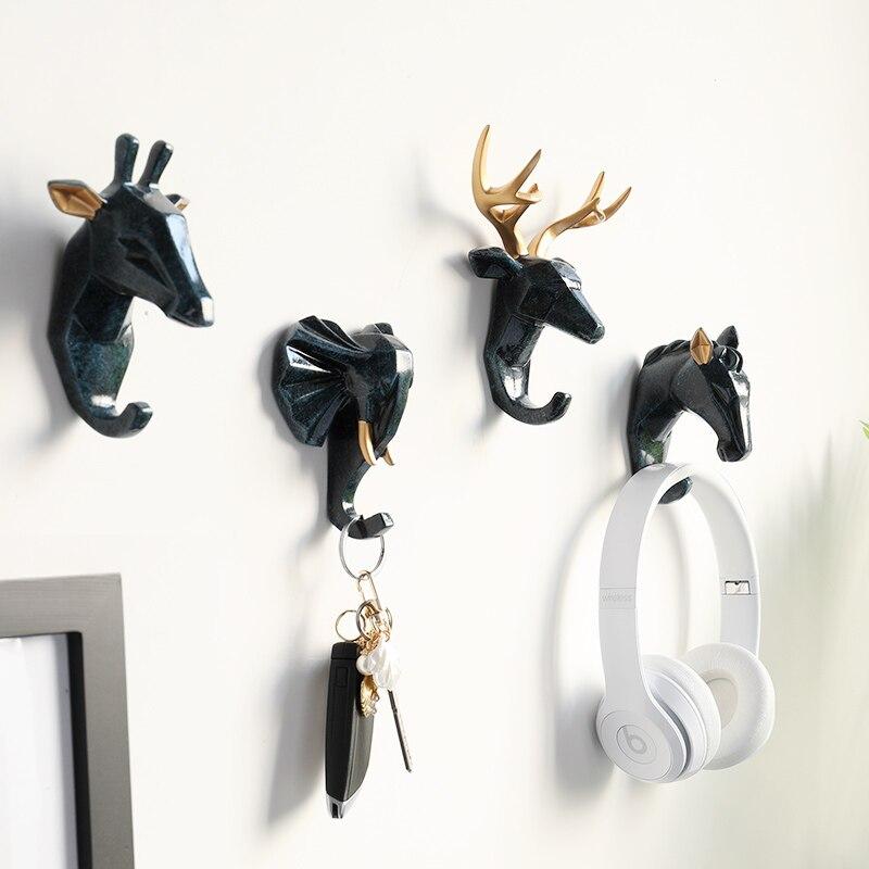 Animal Head Wall Hooks Key Holder Wall Décor Horse Elephant Deer Head Key Hanger House Room Home Decor Umbrella Handbag Holder