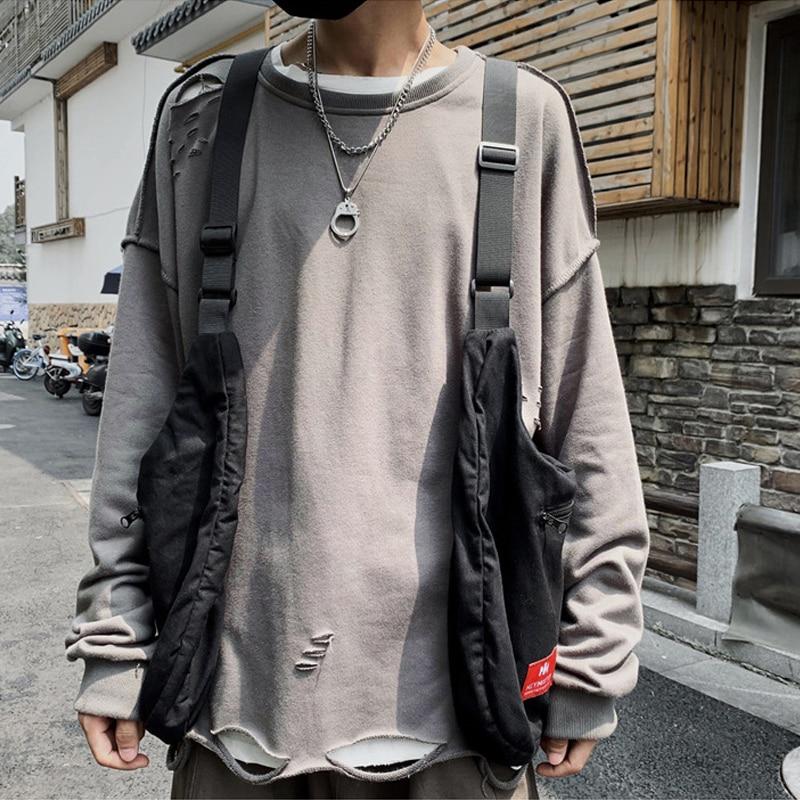 New Chest Bag Men Functional Vest Korea Harajuku Street Style Large Capacity Crossbody Bag For Women Black Cotten Messenger Bag