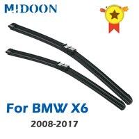 BMW X6 용 MIDOON 와이퍼 블레이드 E71 F16 측면 핀/푸시 버튼/후크 암 2008 2009 2010 2011 2012 2013 2014 2015 2016 2017