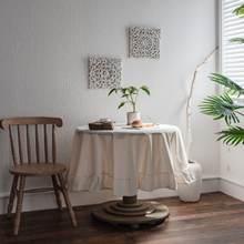 Белая круглая скатерть с оборками для украшения стола хлопковая