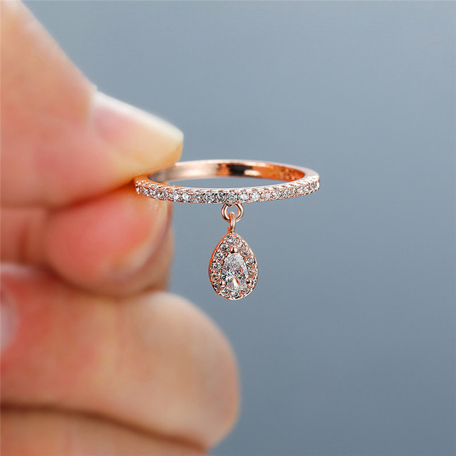 Female Luxury Water Drop Pendant White Zircon Rings For Women Yellow Gold/White Gold/Rose Gold Filled Crystal Ring Boho Jewelry 3