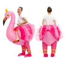 Flamingo Gonfiabile Costume Della Mascotte Bella Anime costumi Per Il Natale Carnaval Halloween costume per le donne Del Partito Del Vestito Operato