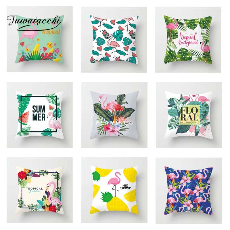 Fuwatacchi Tropical Style Cushion Cover Flamingo   Soft Throw Pillow Cover Decorative Sofa Pillow Case Pillowcase