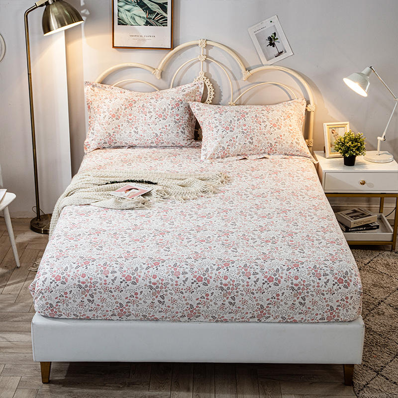 1pc100%Cotton Bed Sheet Little Flower Pink Bed Linens for Grils Pure Cotton Bed Fitted Sheet with Elastic Single/Queen/King Size