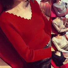 HEFLASHOR Women Wave V Neck Knitted Sweater 2019 Fashion Aut