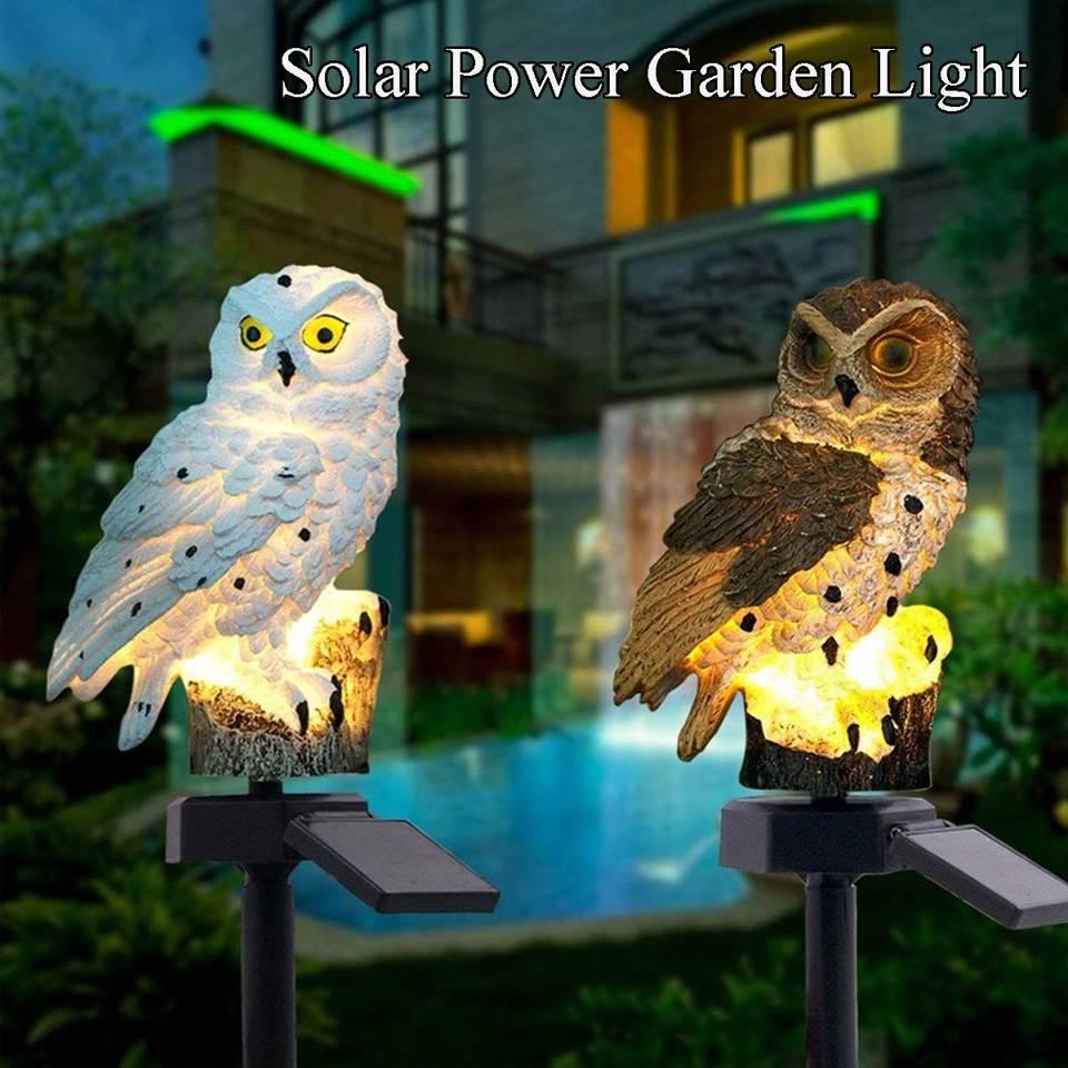 Outdoor Solar Power Garden Lights Owl Decor Path Lawn Yard LED Landscape Light