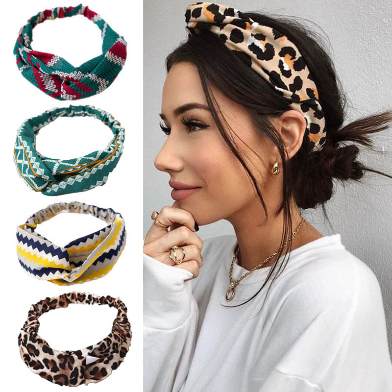 Fashion Floral Print Knot Women Headband Vintage Hairband Girls Headwear Leopard Headband  Hair Accessories