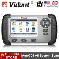 Vident iauto708 todo o sistema professinal ferramenta de verificação de diagnóstico com serviço de luz de óleo/epb/brt/dpf iauto 708 scanner completo