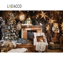 Laeacco Photography Backdrops Merry Christmas Candle Tree Fireplace Star Old Suitcase Interior Background Photocall Photo Studio
