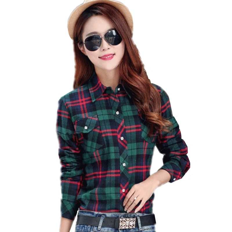 Wanita Wol Menebal Kemeja Kotak-kotak Wanita Plus Ukuran 4XL Flanel Lengan Panjang Blus Katun Kasmir Kemeja Musim Dingin Saku Slim Atasan