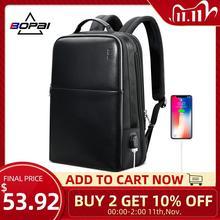 2020 BOPAI كول رجالي حقائب الظهر رجل 14 بوصة حقيبة لابتوب طالب الحقائب المدرسية الرجال السفر حقائب جلدية على ظهره حقيبة سوداء