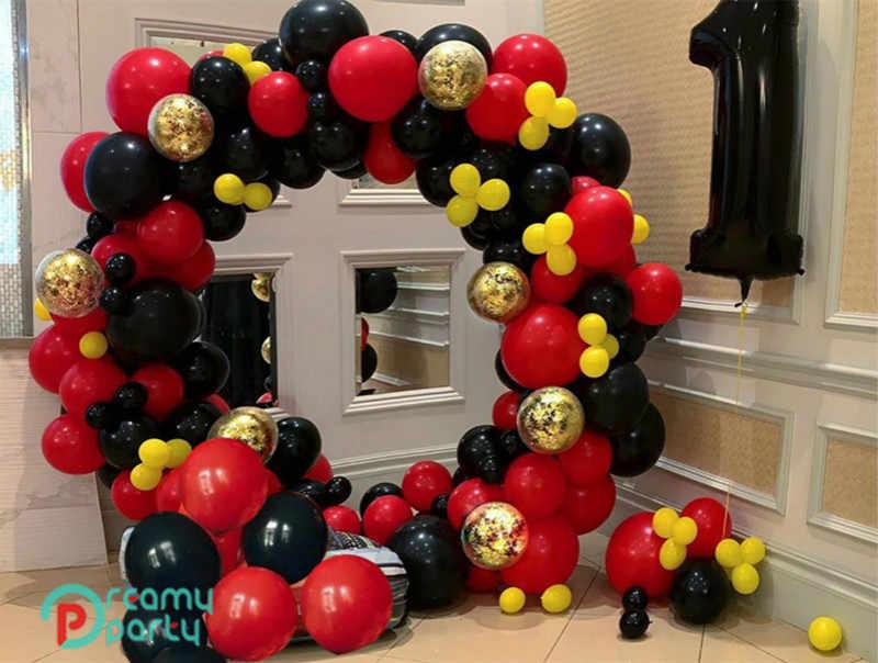 203Pcs DIYสีแดงสีดำLadybugลูกโป่งGarland ArchจุดPolka Dot Party Baloonsธีมวันเกิดตกแต่งงานปาร์ตี้globos