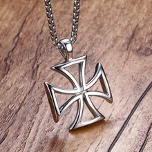 Vintage Hollow Knights Templar Cross Pendant Necklace For Men Boy Maltese Iron Cross