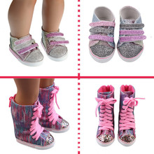 Doll-Boots 18-Inches Glitter-Shoes American-Doll Baby New Born New-Fashion Fit for 7CM