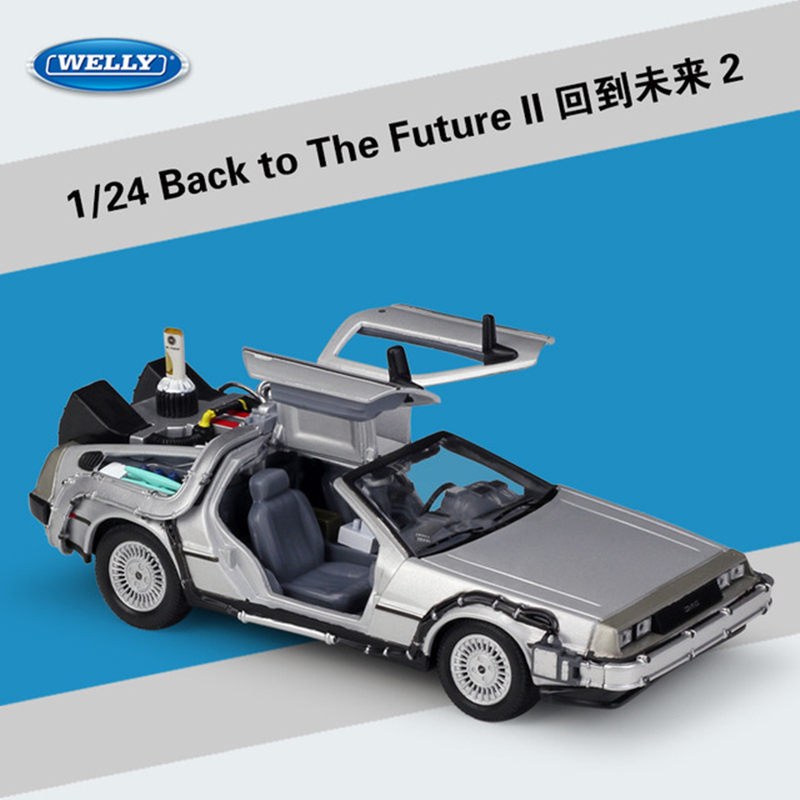 """Welly 1:24 Movie """" ReadyPlayerOne """"Player Back To The Future Car Model Collect Gifts Toy"""