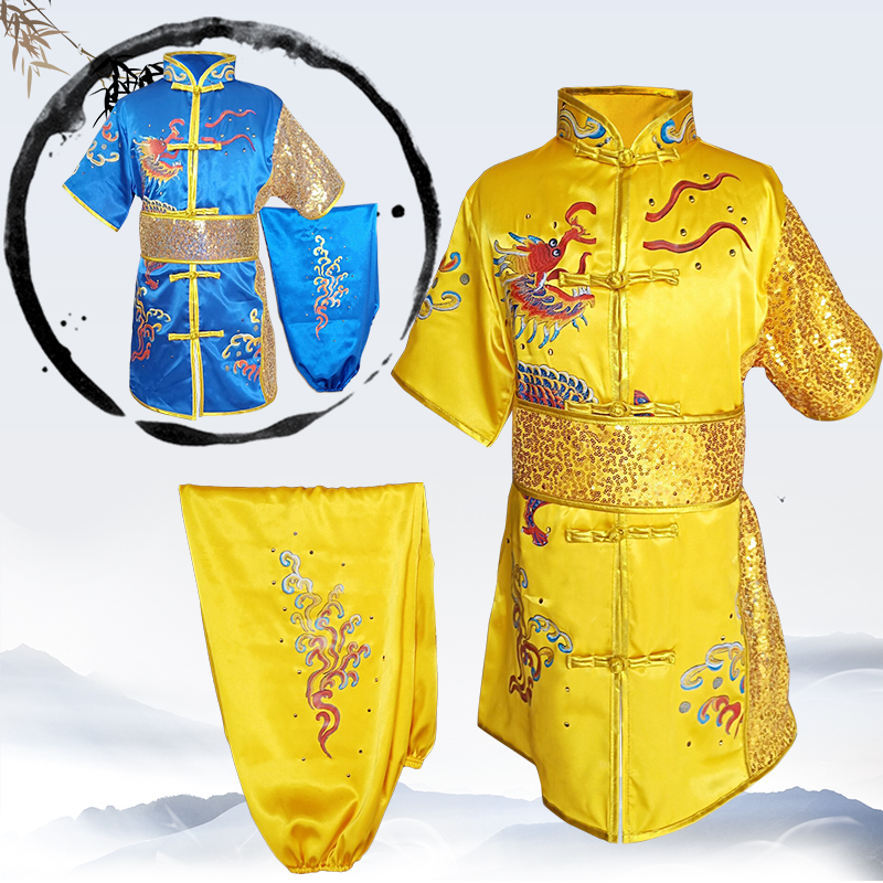 2019 Wushu Kids Chinese Outfits For Kids Wushu Uniform Kung Fu Suit For Kids Stage Performance Set Paillette Embroidery Dragon