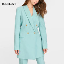 JuneLove Vrouwen Lange Mouw Losse Blazers Jassen Vintage Double Breasted Vrouwelijke Jas Casual Office Lady Blue Blazers Outwears(China)