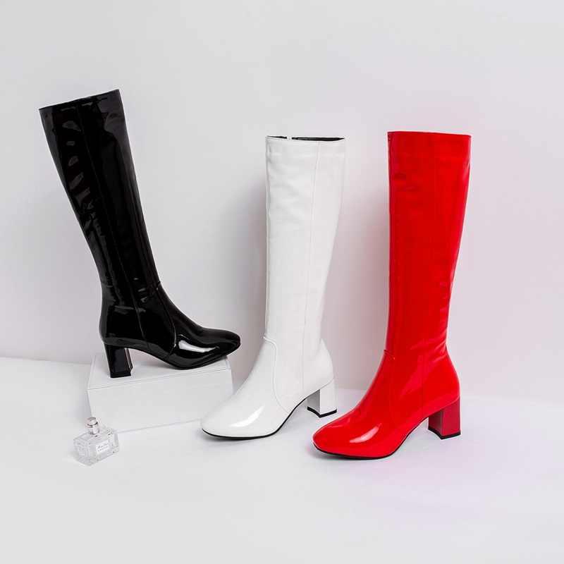 EGONERY seksi kadın diz yüksek çizmeler parti moda suni rugan kadın ayakkabısı sonbahar 6cm yüksek topuklu kadın ayakkabısı