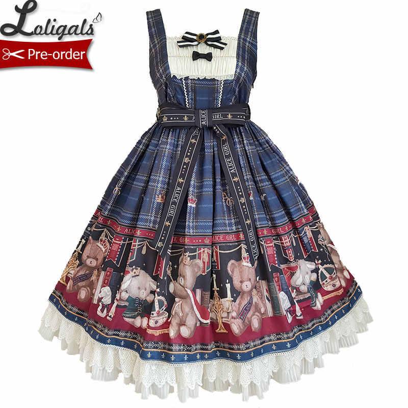 Adorável Ursinho de pelúcia ~ Urso Doce Impresso JSK Lolita Vestido por Alice Menina ~ Pré-encomenda