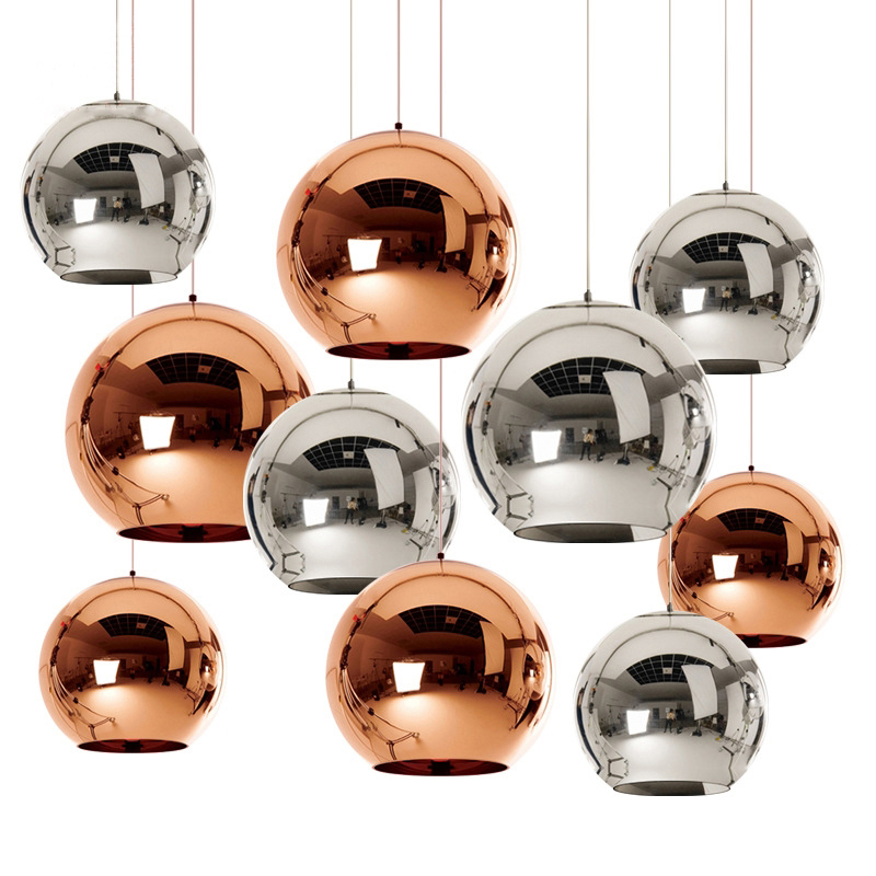 Modern LED E27 Chandelier Dixon Copper/silver/gold Ball Electroplated Glass Shade Pendant Lamp Dining Room Kitchen Loft Decor