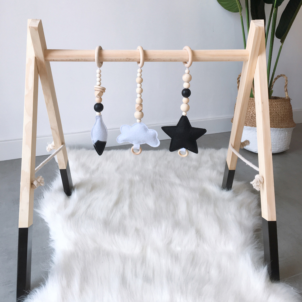 Nordic Baby Gym Wood Toys Nursery Sensory Ring-pull Rattles Wooden Baby Activity Gym Frame Toddler Clothes Rack Kids Room Decor