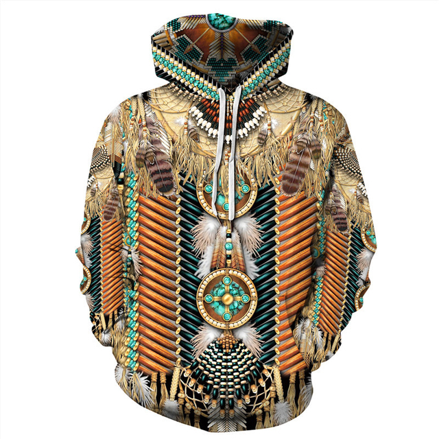 Indian Bohemian European and American Fashion Lovers  Hoodie Men's Loose Large Size 3D Printed Men's Hoodie Goes With Everything 4