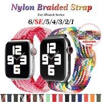 Correa de nailon trenzado Solo para Apple Watch, banda elástica deportiva de 38mm, 40mm, 42mm y 44mm para iWatch Series 6/5/4/3/2/1/SE