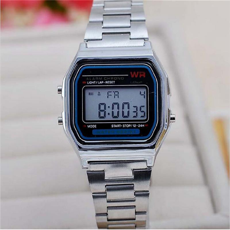 Vintage Womens Men Stainless Steel Square LED Digital Stopwatch Wrist Watch Relogio Masculino