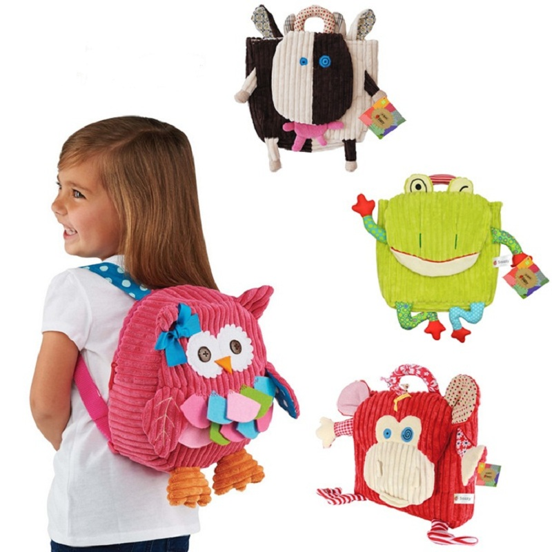 2020 New Children's School Owl Bag Animal Cows Plush Backpack Cartoon School Shoulder Plush Bag Soft Kindergarten Bag
