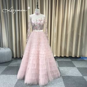 Image 4 - Leeymon Pink Ruffle Tulle Evening Dress High Neck Long Sleeves Embroidery beaded Vestido de Noche Formal Dress