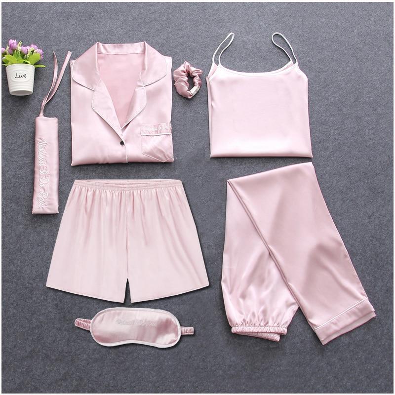 Image 4 - Strap Sleepwear Pyjamas Womens 7 Pieces Pink Pajamas Sets Satin Silk Lingerie Homewear Sleepwear Pyjamas Set Pijamas For WomanPajama Sets   -