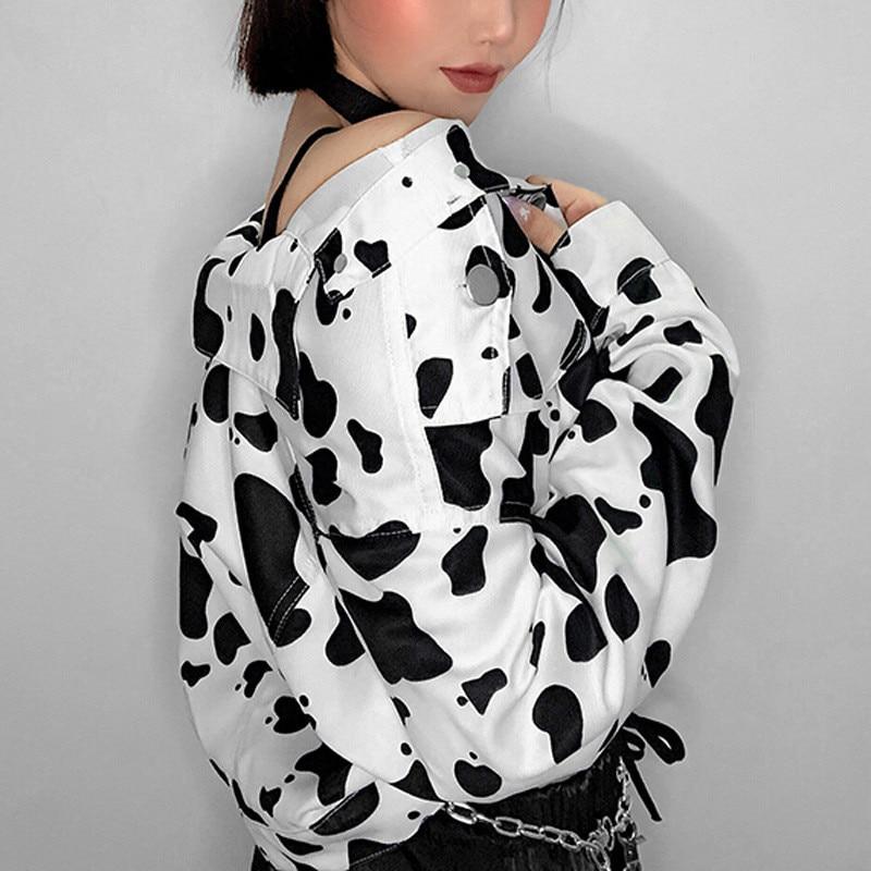 Focal20 Streetwear Black and White Cow Print Women Jacket Turn Down Collar Loose Women Jacket Autumn Color Block Lady Jacket 2