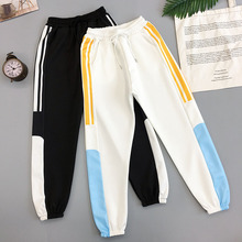 Women Jogger Pants 2020 New Arrival Spring And Autumn Patchwork Female Ankle-Length Pants Student Black White Korean Style N52 men pants thin 2019 new arrival spring and autumn linen cotton casual male ankle length pants black gray khaki korean style n29