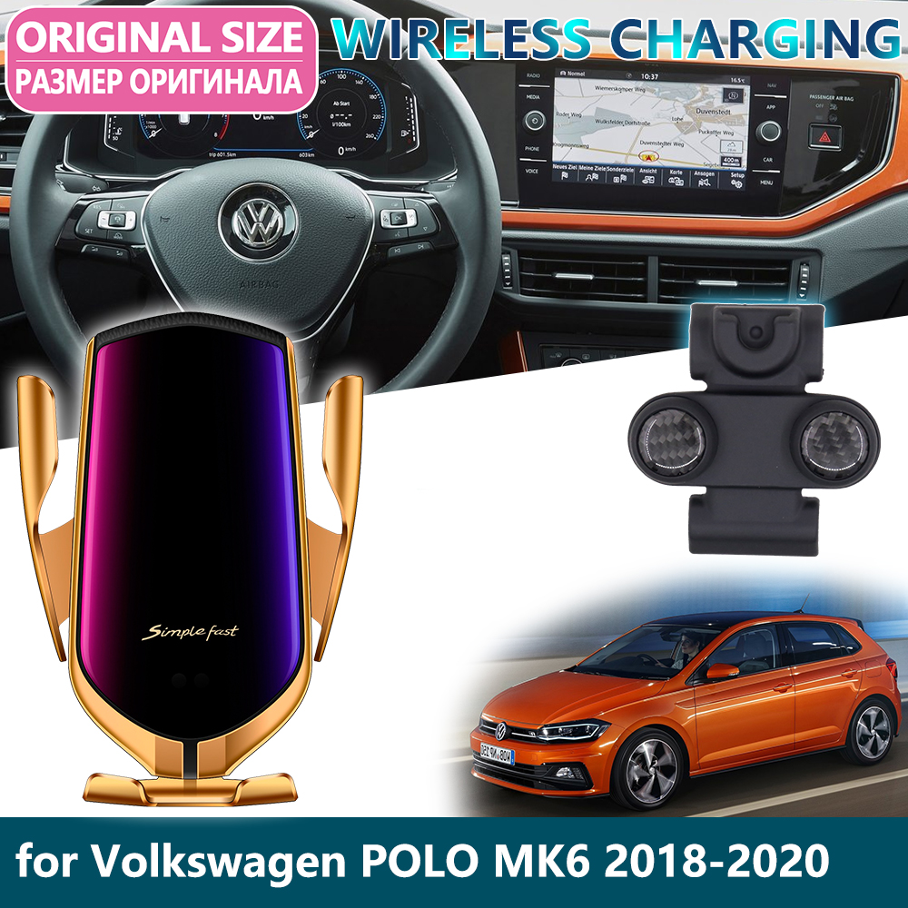 Car Mobile Phone Holder For Volkswagen VW POLO MK6 2018 2019 2020 Gravity Sensor Wireless Charging Telephone Bracket Accessories