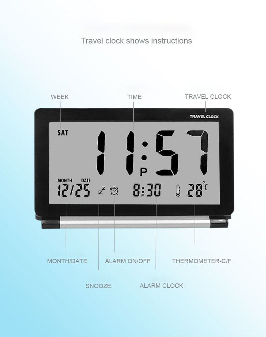 Compact Digital Travel Alarm Clock With
