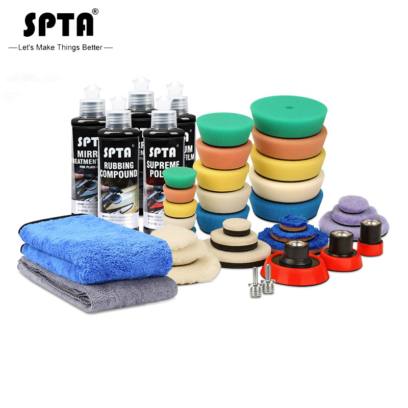 SPTA Polishing Sponge Pad Set Backing Plate Car Care Agent Set Auto Waxing Sponge Buffing Galzing System