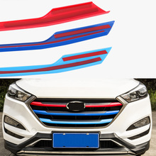 цены ABS Front Car Grille Molding Lid Middle Net Cover Trim Decor For Hyundai Tucson 2015 2016 2017 2018 2019 Car Accessories
