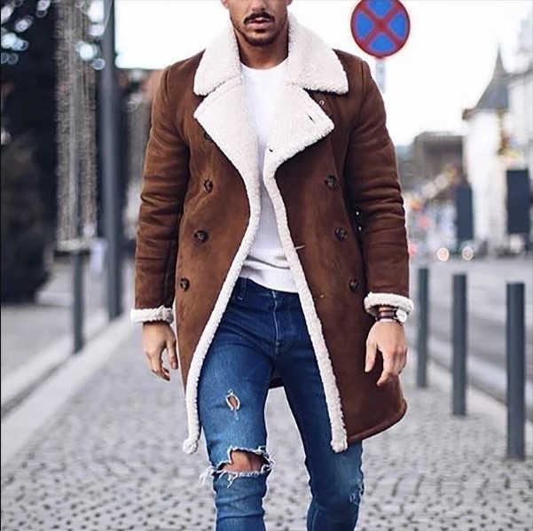 2019 새로운 남성 따뜻한 스웨이드 코트 남성 겨울 양모 양털 긴 오버 코트 겉옷 남자 갈색 긴 트렌치 자 켓 M-3XL