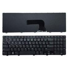 لوحة مفاتيح أمريكية جديدة لأجهزة الكمبيوتر المحمول DELL Inspiron 15 3521 15R 5521 باللون الأسود والإنجليزية مع إطار