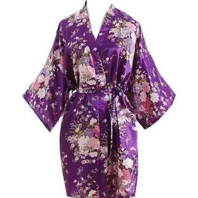 2019 Kadın yaz elbisesi Çiçek Baskı Uzun Gelin Elbise Saten Ipek Gece Sabahlık Bornoz Kimono Mini Parti Elbise Vestidos