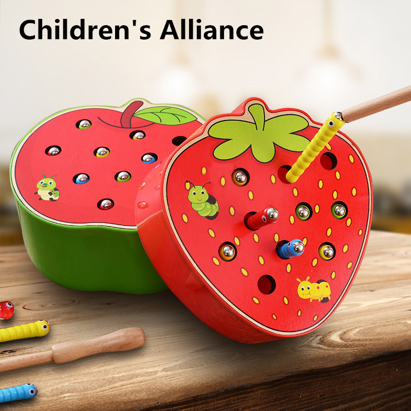 Strawberry 3D Puzzle Baby Wooden Early Educationa lmagnetic math Toys interesting montessori Catch Worm Game Color Cogni(China)