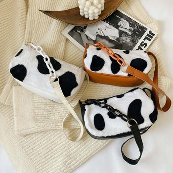 Moda w stylu Vintage torebki damskie torby na ramię damskie torby na ramię pluszowe modne torby wzór krowa mleka słodkie 2020 torby tanie i dobre opinie DAUNAVIA Na ramię i torebki CN (pochodzenie) zipper SOFT NONE Poliester Versatile WOMEN Cartoon Pojedyncze Wnętrza przedziału
