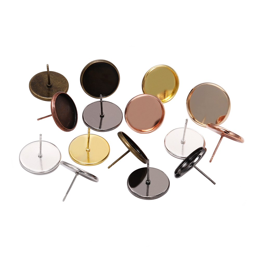 50pcs Stainless Iron Blank Earring Base Cabochon Cameo Base 8 10 12 14 16 Mm Flat Earring Setting Supplies For Jewelry Making
