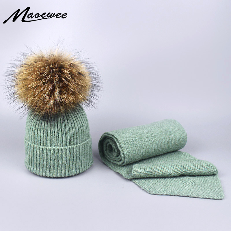 Women's Knitted Wool Hat Cap With Raccoon Fur Pompon For Girls Balaclava Autumn Winter Warm Skull Face Mask Panama Toucas Bone