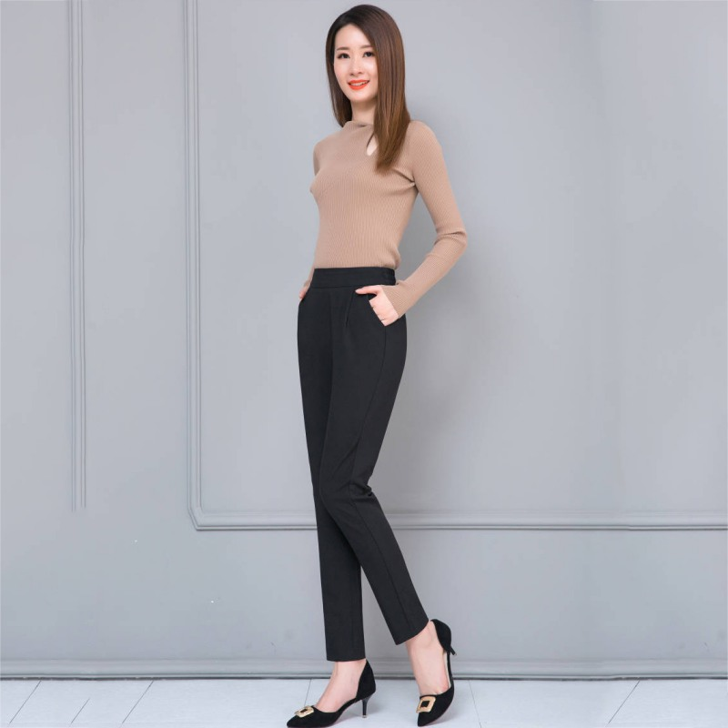 Women Casual Harem Pants Spring Autumn Loose Ankle-length Trousers Female Classic High Elastic Waist Black Fashion Pants