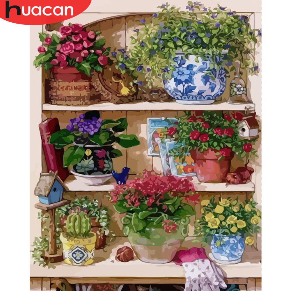 HUACAN Pictures By Numbers Flowers HandPainted Coloring Drawing Kits Canvas Oil Painting Flower Stand DIY Gift Home Decoration