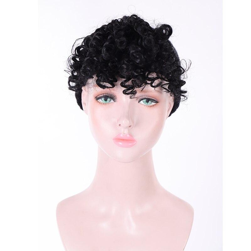 JINKAILI поддельные афро кудрявые бахрома зажимы в челке Высокая температура волокна шиньоны натуральные черные синтетические волосы для наращивания - Цвет: T1B/613