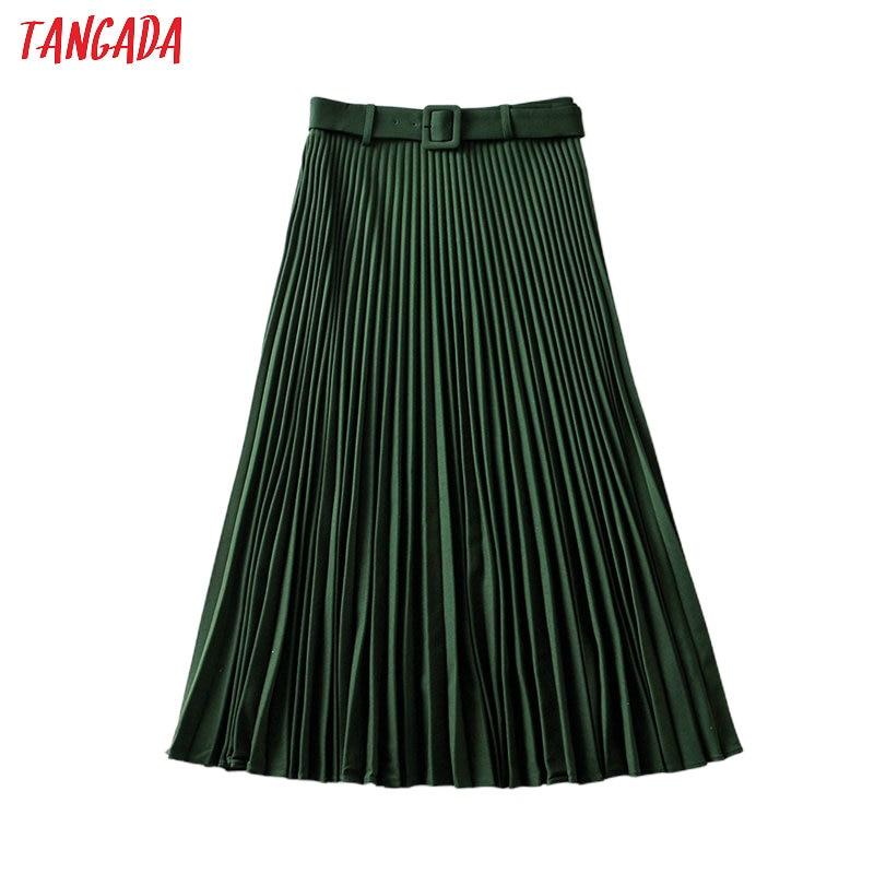Tangada Women Amy Green Pleated Midi Skirt With Belt Vintage Office Ladies Elegant Chic Mid Calf Skirts 6A06