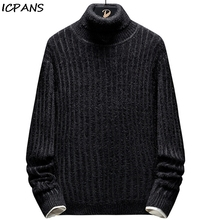 ICPANS Mens Turtleneck Pullovers Striped Cotton Polyester Hip Hop Streetwear Sweater Men Winter 2019 Higt Neck Turtle
